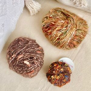 Lot of 3 Yarn Skeins Specialty Mohair Velvet Fall